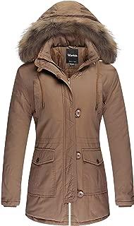 Wantdo Women's Cotton Thicken Padded Parka Winter Jacket Removable Fur Hood Coat