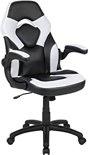 Flash Furniture X10 Gaming Chair Racing Office Ergonomic Computer PC Adjustable Swivel Chair with Flip-up Arms, White/Black LeatherSoft, BIFMA Certified