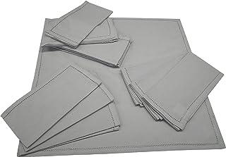Linen Clubs 12 Pack Cotton Dinner Hemstitched Napkins 20x20 - Grey