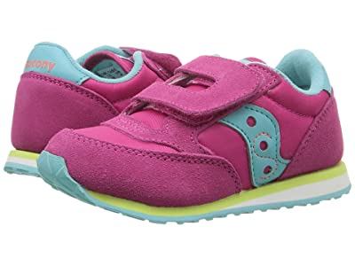 Saucony Kids Originals Jazz Hook Loop (Toddler/Little Kid) (Pink/Turquoise/Lime) Girls Shoes