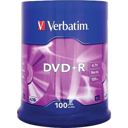 Verbatim 43551 - DVD+R vírgenes (100 Unidades, 4.7 GB, 16x) Multicolor