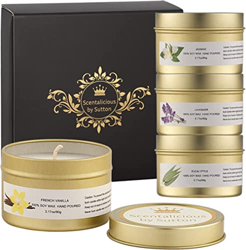 SCENTALICIOUS Scented Candles Gift Set, Aromatherapy Candles for Women, Valentines, Birthday, Diwali - Pure Soy Wax &...