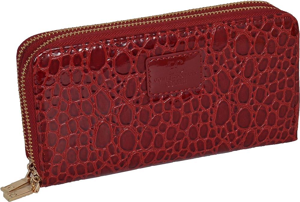 Coveri portafoglio per donna porta carte di credito in similpelle Rubino Cocco 2 Zip