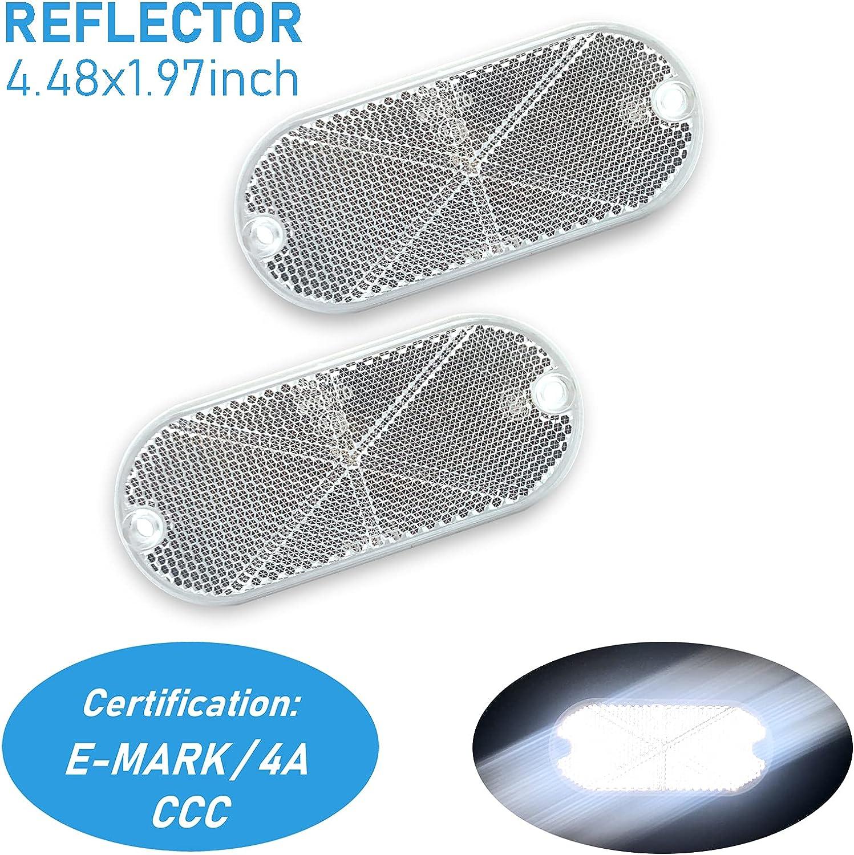 WELNENT 2 pcs E-Mark Oval Stick-On Waterpr Screw-Mount Bombing free shipping Max 49% OFF Reflector