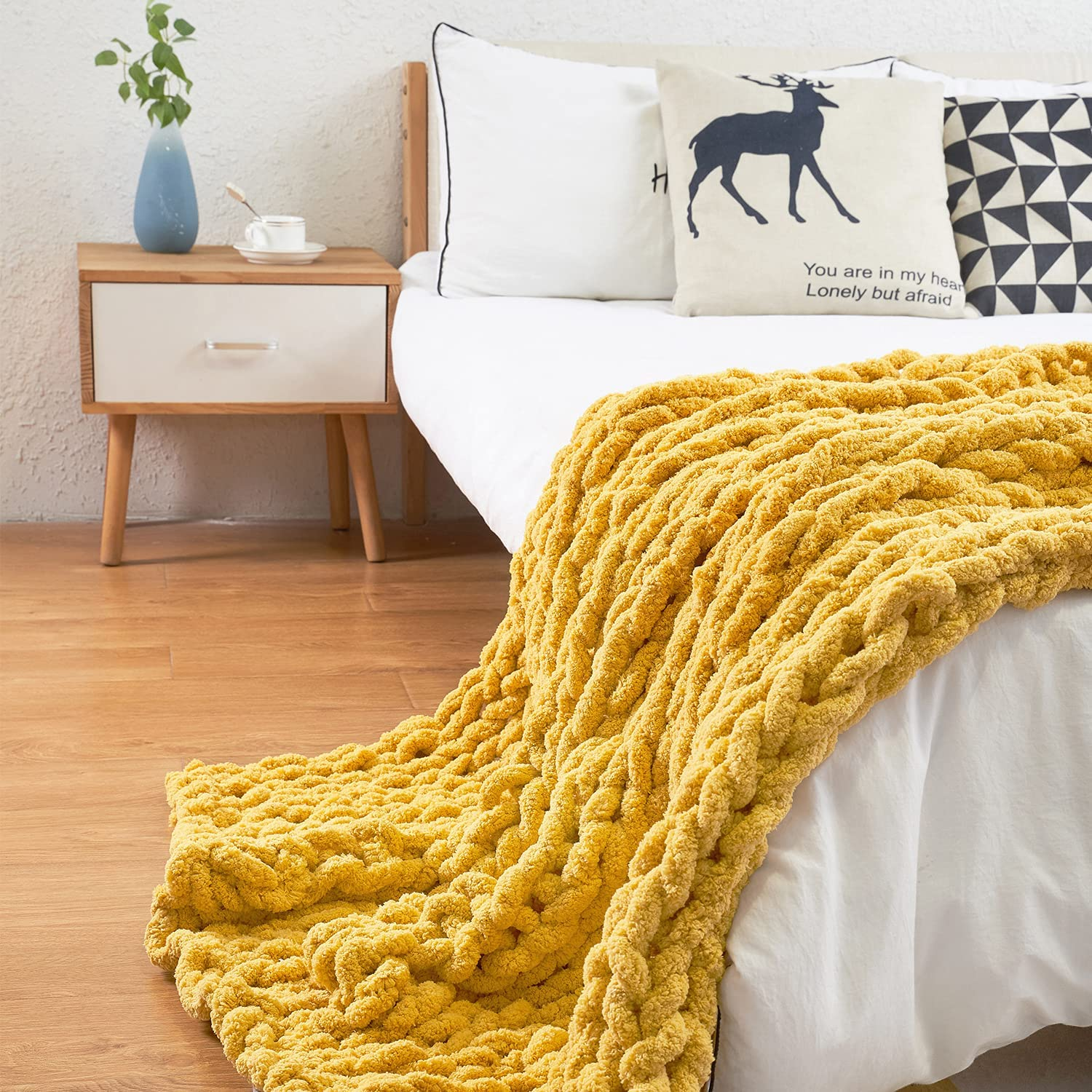 ERLYEEN Chunky Knit Blanket Chenille Large Soft Warm 期間限定で特別価格 特価キャンペーン Cable Throw
