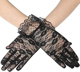 BABEYOND Floral Lace Gloves for Wedding Opera Party Lace Gloves 1920s Flapper Lace Gloves Stretchy Adult Size
