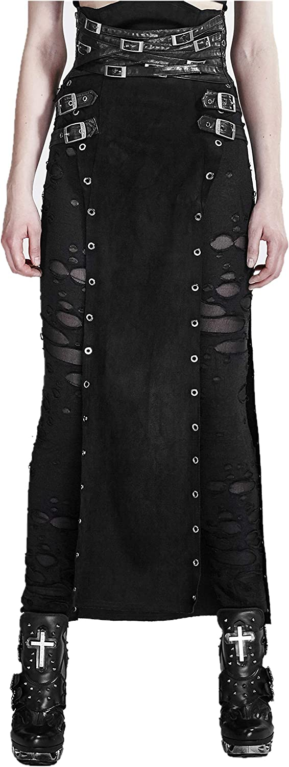 Punk Rave Women's Black Gothic Punk Vintage Retro Split Party PU Leather Long Skirt