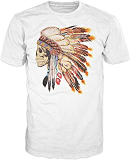 Skull American Indian Chief Swag T-Shirt (White)