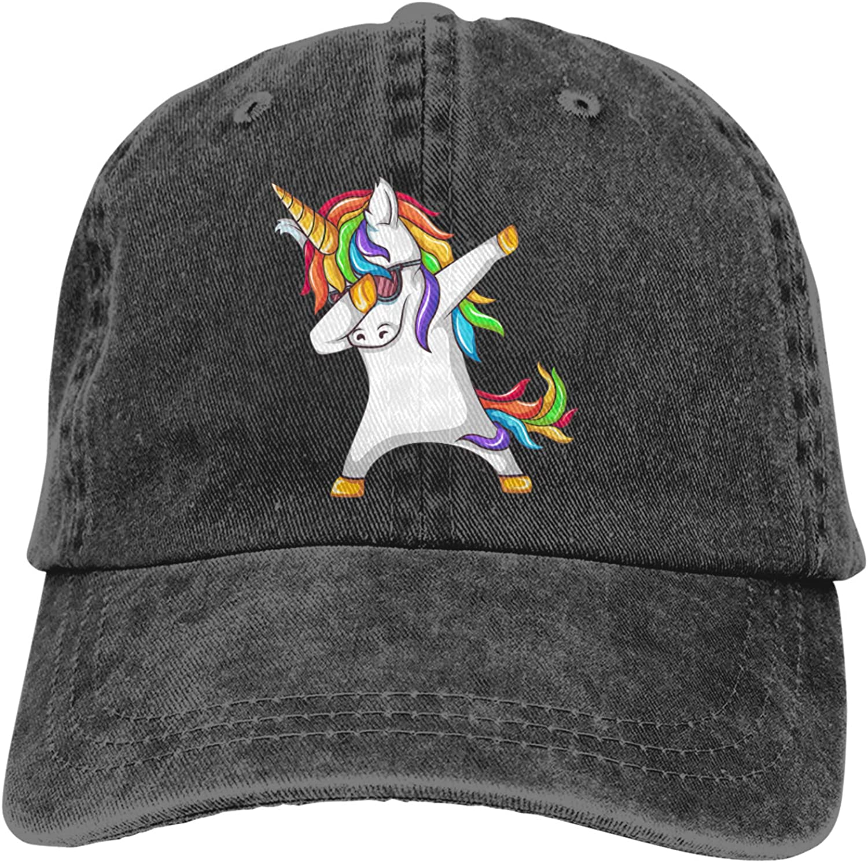 Dancing Unicorn Baseball Cap Cowboy Hat Unicorn Ponytail Cap Girls Adjustable Vintage Washed Funny