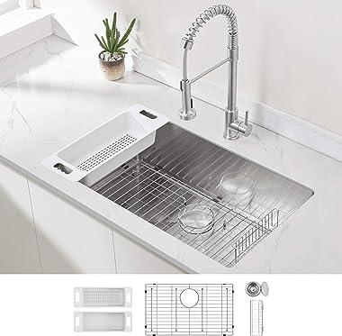 Modena Undermount Kitchen Sink Set, 16-Gauge Stainless Steel (32-Inch Single Bowl)