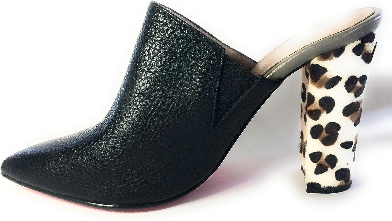 Carlo Valdini Fashion shoes Cute Mules Block High Heels Black and Animal Print