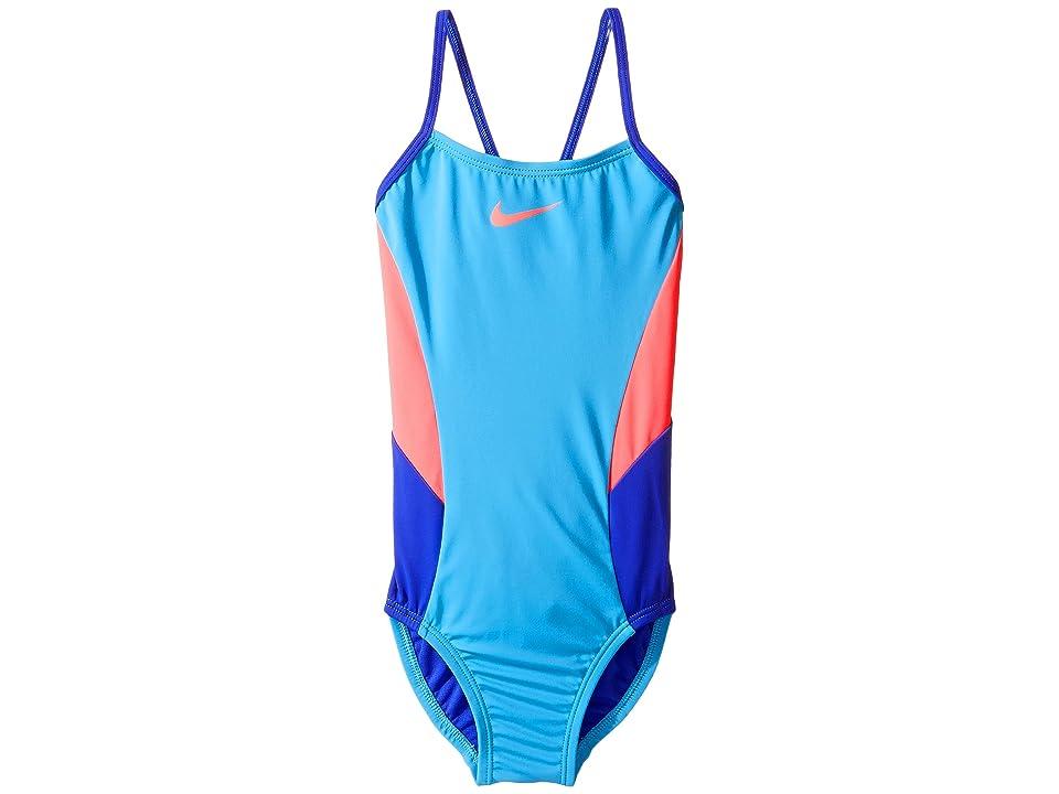 Nike Kids Color Surge V-Back One-Piece Swimsuit (Little Kids/Big Kids) (Chlorine Blue) Girl