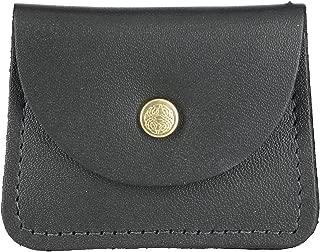 CTM Men's Leather Double Coin Case Wallet, Black