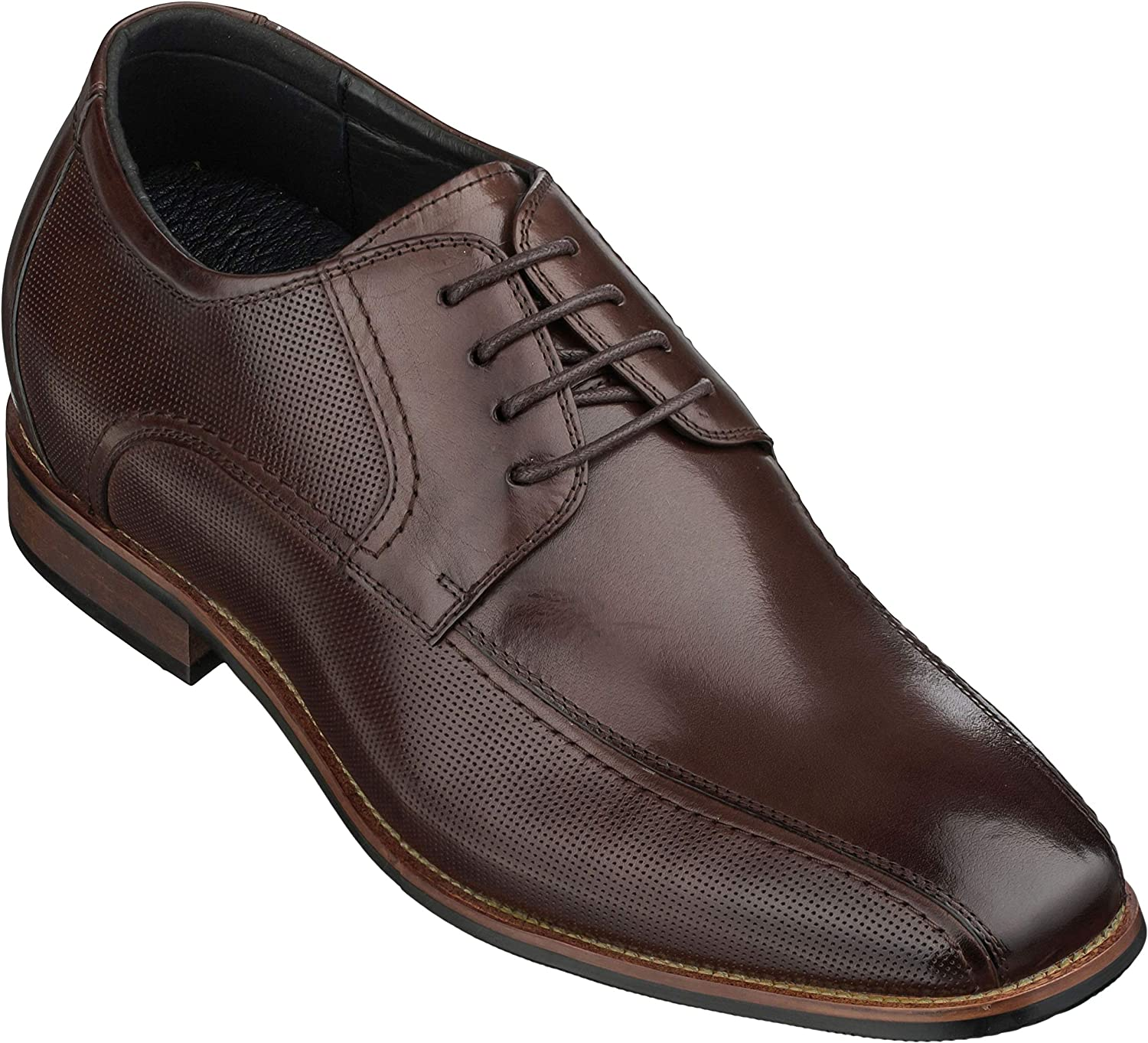 CALTO Men's Invisible Height Increasing Elevator Shoes - Coffee Brown Premium Leather Lace-up Formal Oxfords - 3 Inches Taller - Y10654