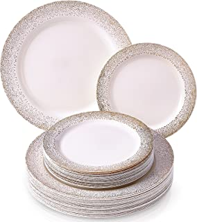 PARTY DISPOSABLE 40 PC DINNERWARE SET | 20 Dinner Plates | 20 Salad/Dessert Plates | Elegant Fine China Look | for Upscale Wedding and Dining (Ocean Mist Collection-Gold/Ivory)