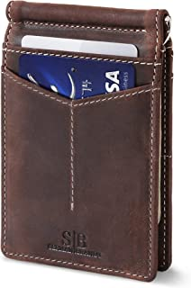 RFID Blocking Wallet Slim Bifold - Genuine Leather Minimalist Front Pocket Wallets for Men with Money Clip