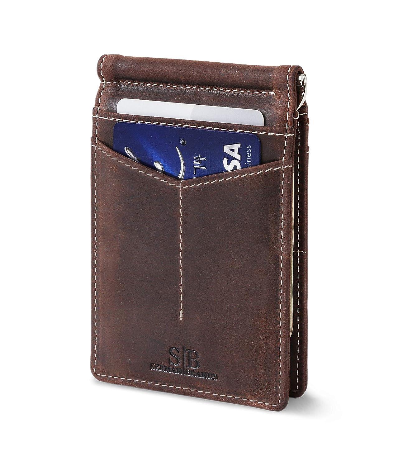 SERMAN BRANDS RFID Blocking Wallet Slim Bifold - Genuine Leather Minimalist Front Pocket Wallets for Men with Money Clip