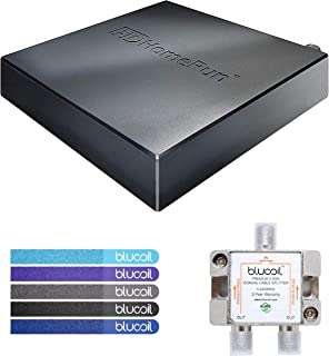SiliconDust HDHomeRun Connect Duo HDHR5-2US Dual Tuner Bundle with Blucoil 2-Way TV Coaxial Cable Splitter and 5-Pack of Reusable Cable Ties