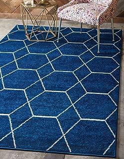 Unique Loom Trellis Frieze Collection Lattice Moroccan Geometric Modern Navy Blue Area Rug (4' 0 x 6' 0)