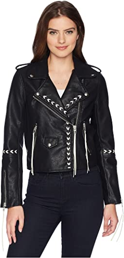 Blank NYC Bonded Vegan Leather Jacket with Lacing Detail in Second Chances