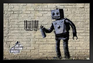Pyramid America Banksy Barcode Robot Graffiti Stencil Street Art Urban Spray Paint Artist Black Wood Framed Poster 20x14