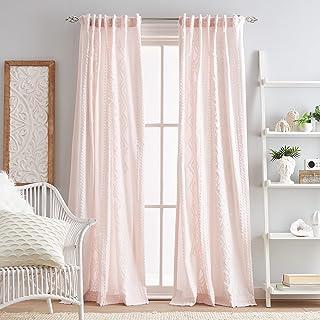 "Peri Home Cut Geo Sheer Cotton Back Tab Window Curtain Panel Pair, 84"", Blush"