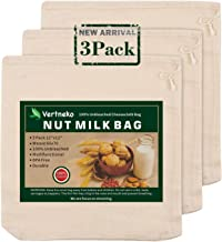 """Nut Milk Bag Reusable, 3 Pack 12"""" x 12"""" 100% Unbleached Cotton Cheesecloth Bags Strainer for Straining Almond/Soy Milk Gre..."""