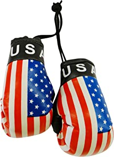 USA Country Flag Mini Boxing Gloves to Hang Over Your Automobile Mirror .United States New