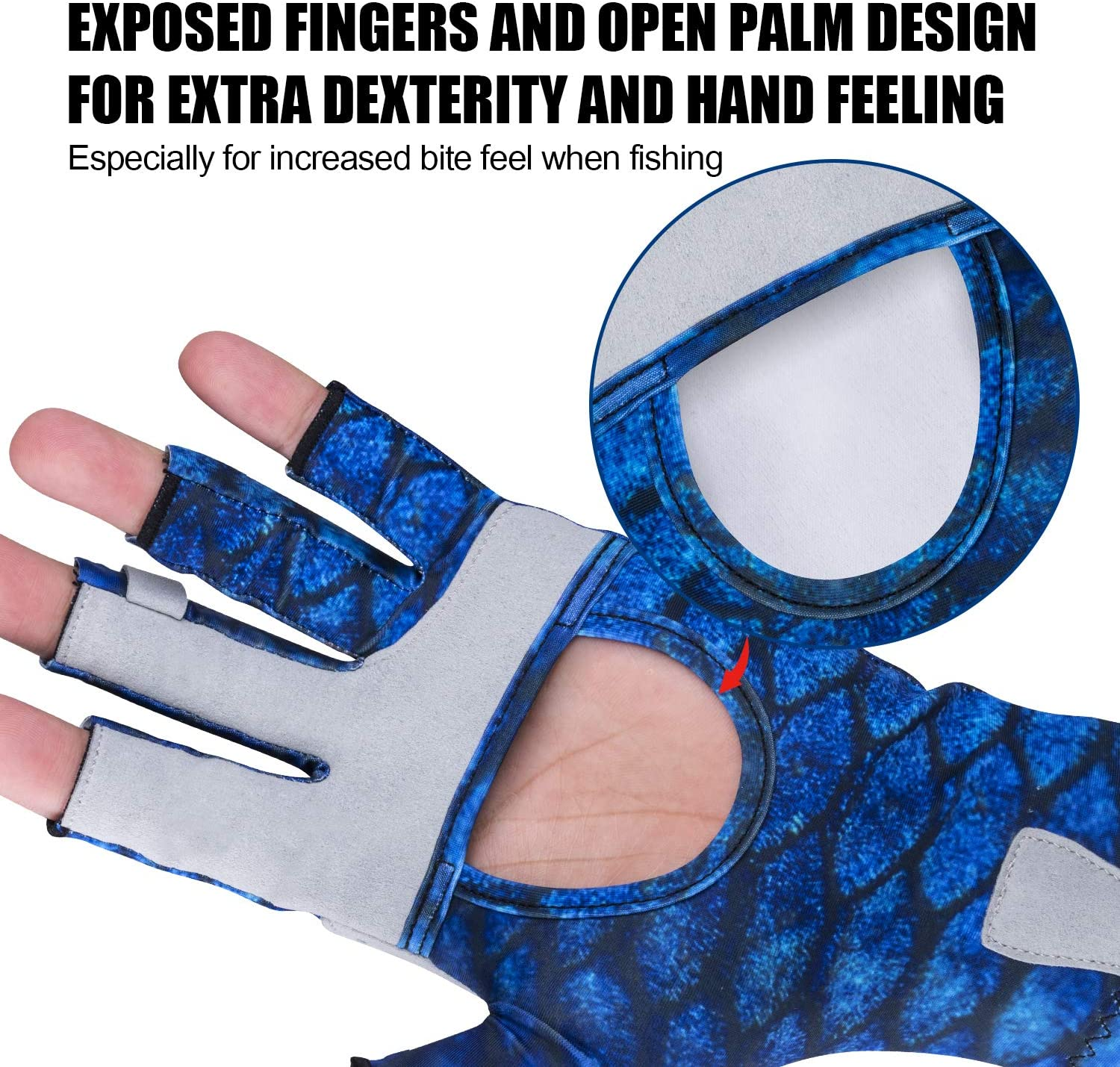 Surfing Cycling Gray Blue Black S//M L//XL Boating Hiking Goture UV Protection Fishing Gloves UPF50+ Sun Protection Fingerless Gloves Breathable Gloves Men Women for Sailing Padding Kayaking