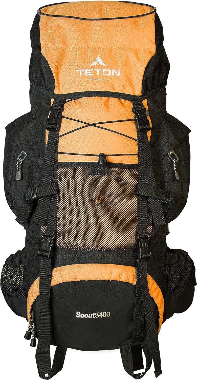 TETON Sports Scout 3400 Internal Frame Backpack; HighPerformance Backpack for Backpacking, Hiking, Camping; Sewnin Rain Cover
