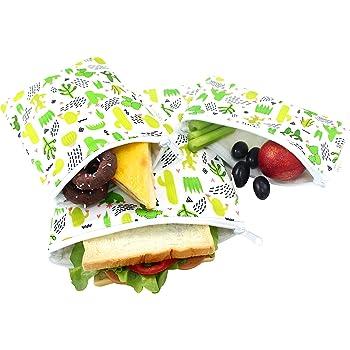 Langsprit Premium Reusable Sandwich & Snack Bags-Washable Lunch Bags - Set of 3 - (Cactus)
