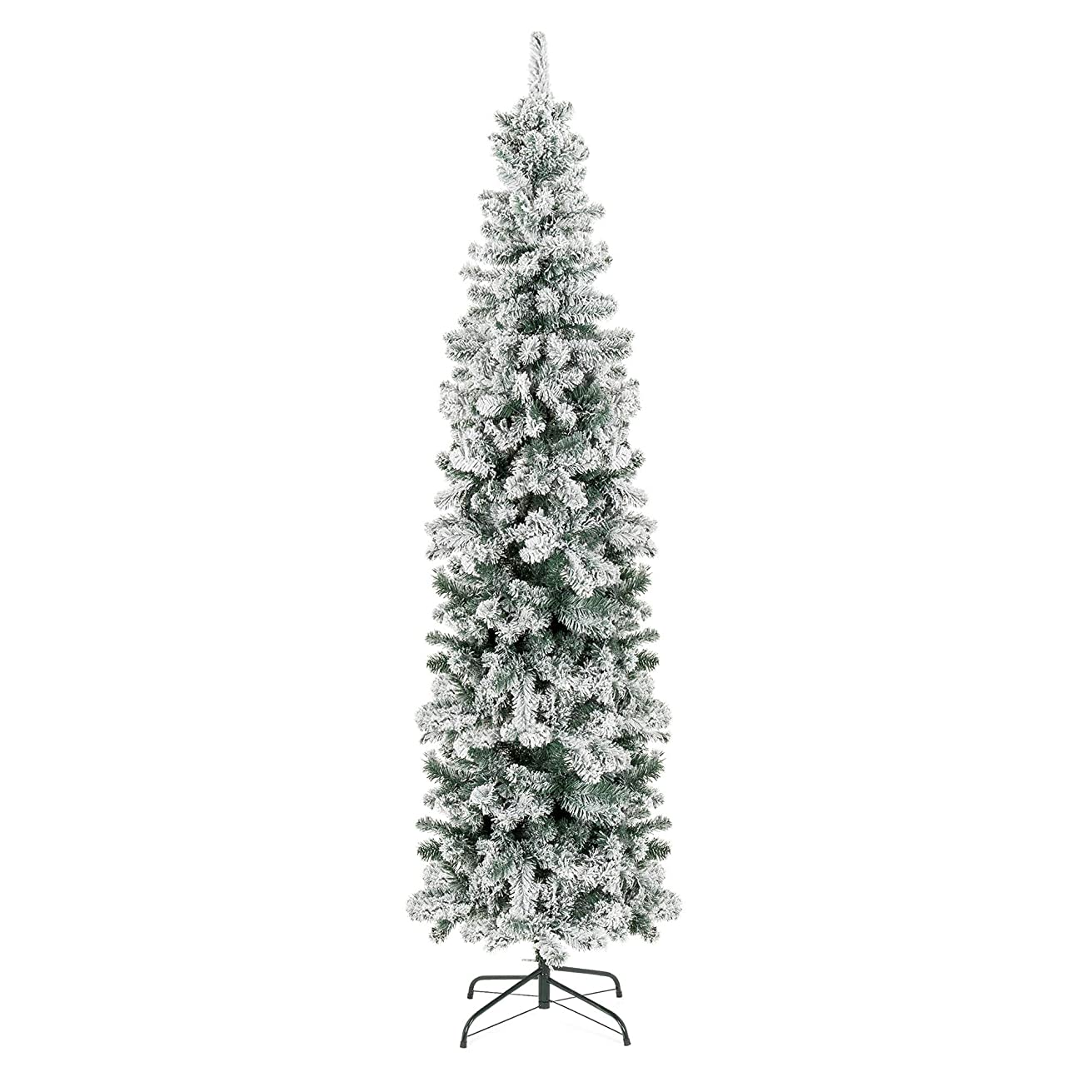 Best Choice Products 7.5ft Snow Flocked Artificial Pencil Christmas Tree Holiday Decoration w/Metal Stand - Green