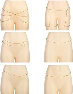 Tornito 6-8Pcs Sexy Belly Waist Chain Bikini Body Chain Summer Beach Body Jewelry Set for Women Girls Gold Tone