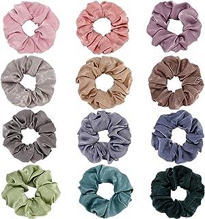 UNIUNITWO 12Pcs Multicolored Hair Scrunchies Silk Elastic Hair Ties for Ponytail Holder Hair Bands for Women Girls Hair Ac...