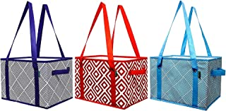 Earthwise Deluxe Collapsible Reusable Shopping Box Grocery Bag Set with Reinforced Bottom Storage Boxes Bins Cubes (Set of 3) (Red/Blue/Turq)