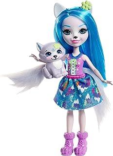 Enchantimals Mini-poupée Winsley Loup et Figurine Animale Trooper, aux cheveux bleus avec jupe à motifs en tissu, jouet en...