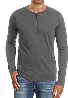 Men's Fashion Casual Front Placket Short/Long Sleeve Henley T-Shirts Cotton Shirts