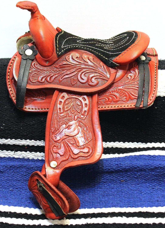13cm Western Burgundy Leather Saddle Mini Decoration Saddle