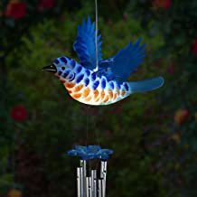 Exhart Solar Blue Bird Wind Chimes - WindyWings Flapping Wings Musical Wind Chimes - Durable Plastic Solar Blue Bird Decor & Metal Pipes, Large Windchimes (12'' W x 10'' H x 24'' H)