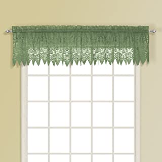 United Curtain Valerie Lace Sheer Straight Valance, 52 by 15-Inch, Sage