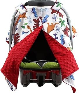 Dear Baby Gear Deluxe Car Seat Canopy, Minky Print Cartoon Dinosaur, Bones, and Palm Trees, Red Minky Dot