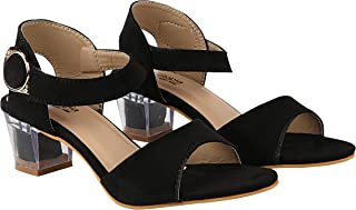 Do Bhai Women Synthtic Material Ankle Strep Block Heel Glass Heel Fashion Sandal (1565)