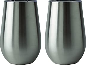 XPAC Stainless-Steel Double-Wall Wine Tumblers, 12 Ounce Twin Pack with Acrylic Lids