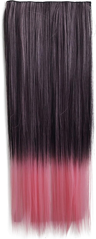 PRETTYSHOP XXL Full Head 5Clips One Piece 55cm clip en las extensiones del pelo cabeza completa Hairpiece o liso ondulado Heat-Resistir Div. Colores