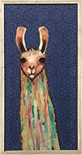 GreenBox Art + Culture Baby Llama on Bohemian Pattern by Eli Halpin 5 x 10 Mini Framed Canvas, Rustic White