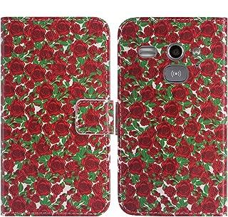 TienJueShi Rose Flower Book-Style Flip Leather Protector Case Cover Skin Etui Wallet for Doro Liberto 820 Mini 4 inch