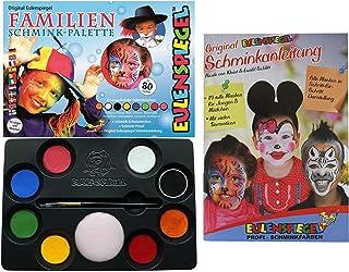 Eulenspiegel 208014 - familie-make-up-palet, 8 professionele aqua-kleuren, 1 spons, 1 penseel, 1 make-up-handleiding