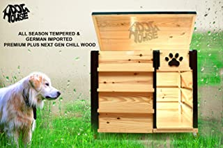 Smart Pets House German Imported Premium Plus Next Gen Wooden Outdoor Dog House With Adjustable Lock Wheels, Attached Food Bowl, Four Side Air Ventilation, Easy To Move, Easy To Carry, Fully Fold-able, Easy Washable All Season Tempered Imported Wood Suitable For All Dogs [ L 45 X W 33 X H 40 Inches ] Size - Large By Smartone