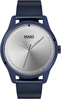 Hugo Boss Men's Silver White Dial Ionic Plated Blue Steel Watch - 1530045