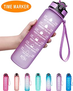 Venture Pal 32oz/22oz Motivational Fitness Sports Water Bottle with Time Marker & Straw, Large Wide Mouth Leakproof Durable BPA Free Non-Toxic